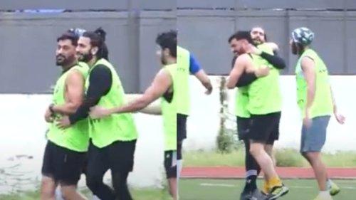 Ranveer Singh hugs MS Dhoni during football match against Ibrahim Ali Khan's team, watch