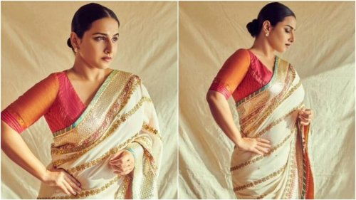 Vidya Balan's embroidered white saree with pink blouse is a must-have: All pics