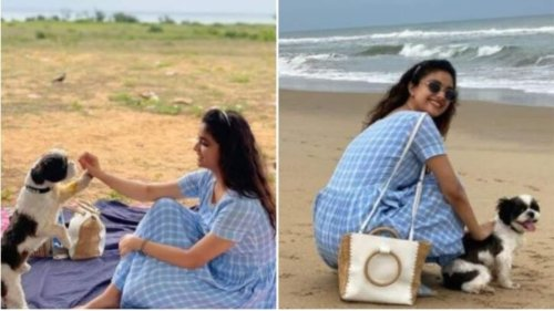 Keerthy Suresh shares beach pics with pet Nyke, a fan says 'didn't like dogs till today'
