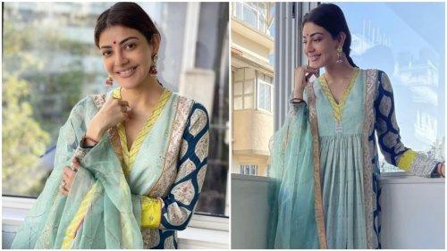 Viral pics reveal Kajal Aggarwal's simple and elegant Karva Chauth look in printed anarkali set