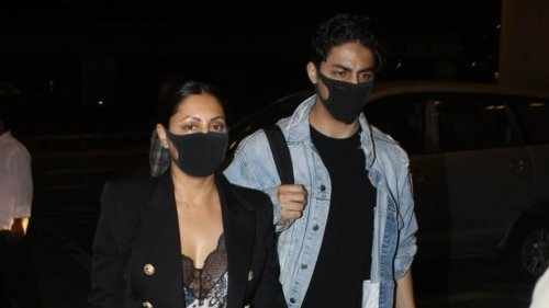 Gauri Khan and Aryan Khan clicked at Mumbai airport, are they joining Suhana Khan in New York? Watch video