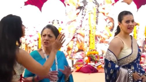 Kajol tells Tanishaa Mukerji to 'shut up' as they argue at a puja, mom Tanuja shushes them up. Watch