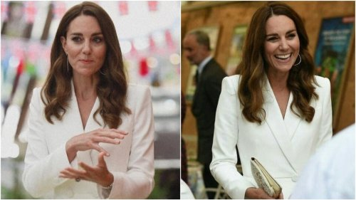Kate Middleton is radiant in ivory coat dress with Prince William at a reception
