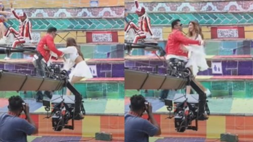 Salman Khan saves Disha Patani after she almost falls down while filming Zoom Zoom, watch
