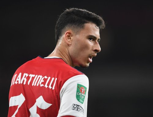 Gabriel Martinelli reacts to Nuno Tavares' display for Arsenal v Aston Villa
