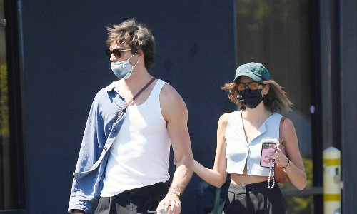 Kaia Gerber and Jacob Elordi wore matching outfits while on a coffee run