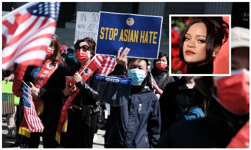 Rihanna supports the Stop Asian Hate movement by marching in New York