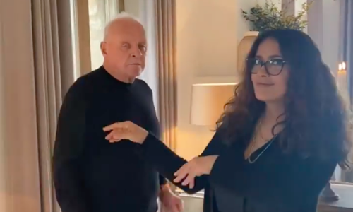 Salma Hayek dances with Anthony Hopkins and celebrates his Oscar win