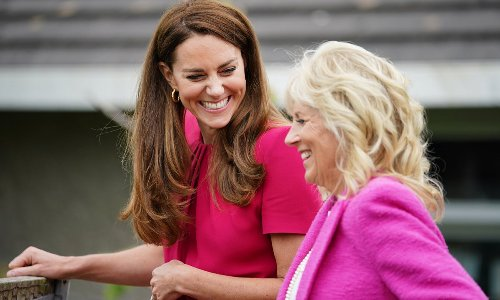 Kate Middleton and First Lady Dr. Jill Biden look pretty in pink for joint engagement