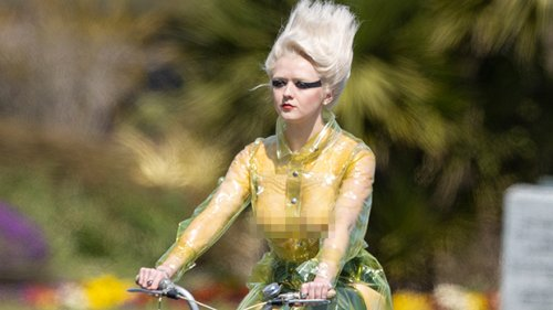 Maisie Williams Is Unrecognizable In Fully Sheer Shirt As She Bike Rides While Filming New Show