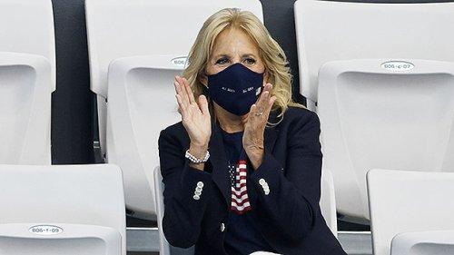 Jill Biden Cheers On Team USA In American Flag T-Shirt At Tokyo Olympics — Photos