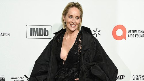Sharon Stone, 63, Looks Sensational In Plunging Black Swimsuit As She Sunbathes — Pics