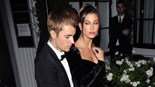 Hailey Baldwin Stuns In Velvet Dress With Double Leg Slit For Fancy Night Out With Justin Bieber – Photo