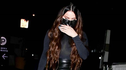 Selena Gomez Sizzles In Skintight Latex Mini Skirt & Sheer Turtleneck Stepping Out To Dinner In L.A. — Photos