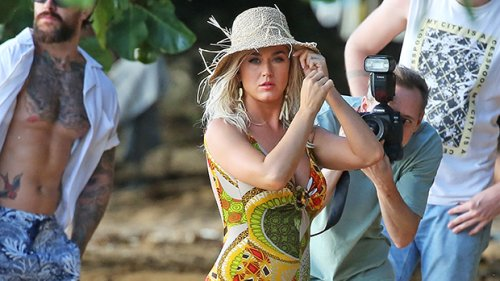 Katy Perry Rocks One-Piece Swimsuit As Celebrates 37th Birthday on Vacation With Orlando Bloom