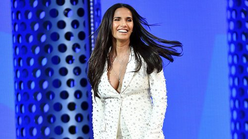 Padma Lakshmi Dazzles The BBMAs With White Suit Featuring Silver Sequins – See Pic