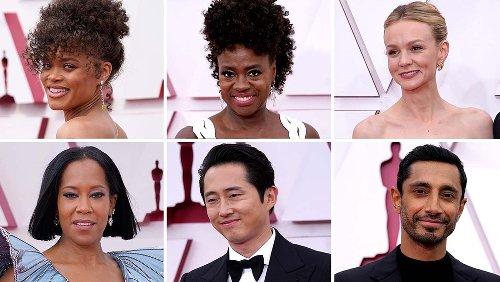 Oscars Red Carpet Photos: Riz Ahmed, Viola Davis, Andra Day, Regina King, Carey Mulligan, Steven Yeun and More