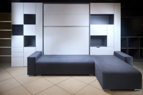 A Cool Space-Saving Solution - Murphy Bed with a Couch