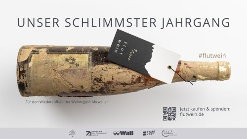 """Spendenaktion """"Flutwein"""": Seven-One und Wall unterstützen die Region Ahrweiler mit geretteten Weinflaschen"""