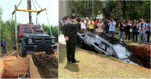 15 Photos Of Cars People Actually Tried To Bury