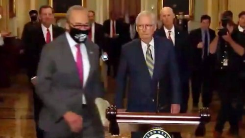 Chuck Schumer Cut In Front Of Mitch McConnell And Became A Meme