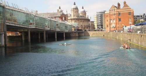 What lies beneath the Princes Quay water and why is it so blue