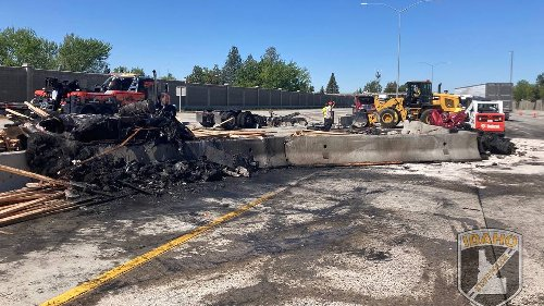 I-84 reopens in Boise after massive crash causes semitrailer fire, sends 4 to hospital