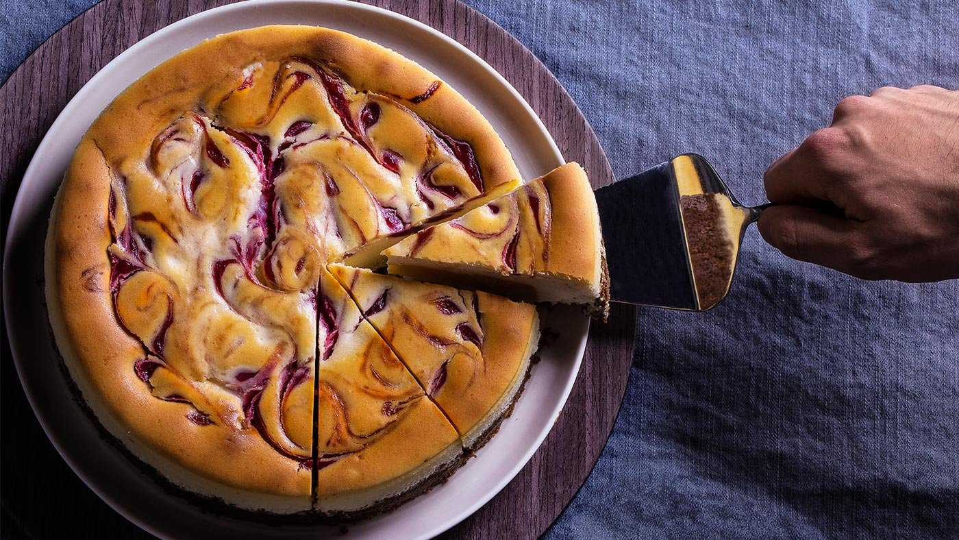 Raspberry-Marbled Cheesecake Is The Perfectly Classy Dessert