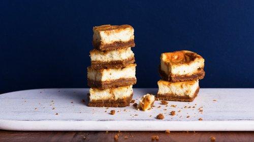 Whiskey Caramel Cheesecake Bars Are The Best Bite-Sized Dessert