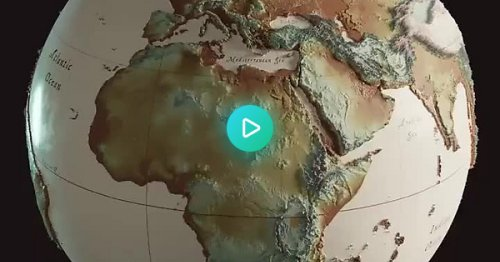 An animated map shows human migration through history with its starting point