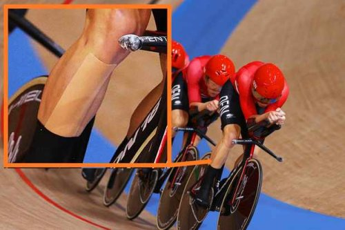 Is the Danish Olympic track team using shin tape to get around UCI sock height rules?