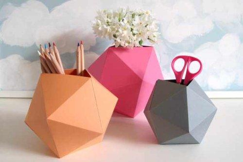 Paper folding project - DIY desktop tidies