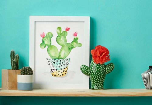 How to paint a watercolour cactus