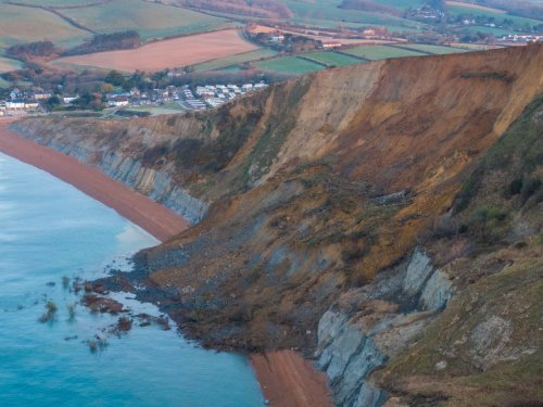 Huge Jurassic Coast rockfall covers beach with boulders