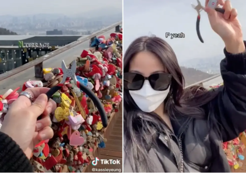 Woman travels 6,000 miles to remove love-lock from tourist attraction out of 'pettiness'