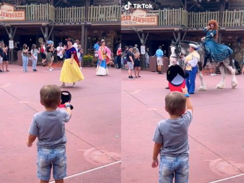 Viral TikTok sees four-year-old boy tip his hat to Disney princesses