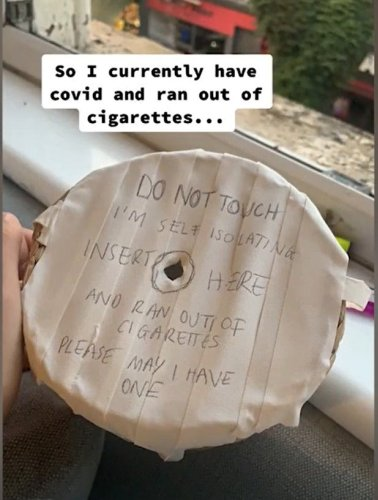 Woman stuck in self-isolation comes up with genius way to get cigarettes up to her room