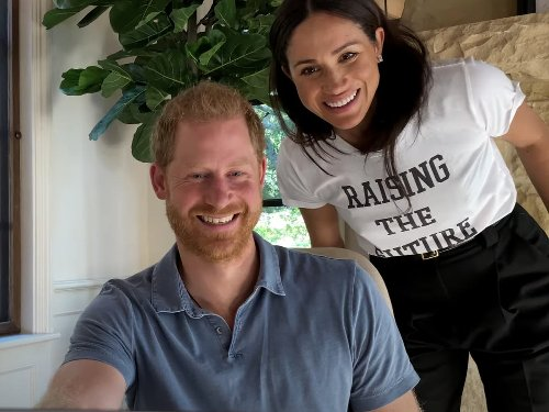Meghan makes cameo appearance in Harry and Oprah's trailer wearing slogan t-shirt