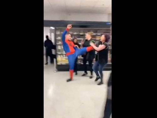 Six injured after man dressed as Spider-Man attacks Asda workers in mass brawl