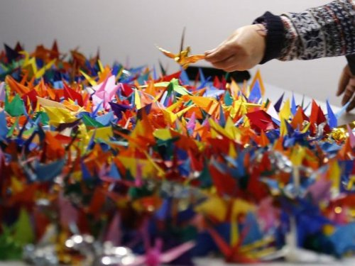 At the Tree of Life synagogue today, we are surrounded by paper cranes