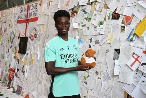 Bukayo Saka 'speechless' after Arsenal present him with wall of fans' well-wishes