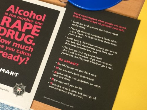 Police flyers linking rape to alcohol given to students 'in error'