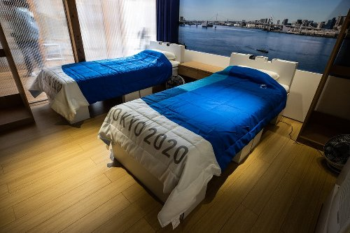 First look inside Tokyo Olympic village including recyclable cardboard beds