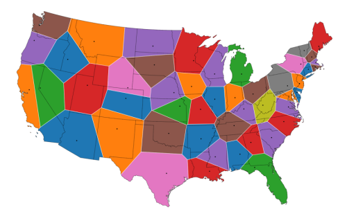 Amazing map shows how US would look if states redrawn so capitols were in the middle