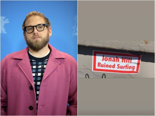 Jonah Hill and girlfriend Sarah Brady react to sign claiming actor 'ruined surfing'
