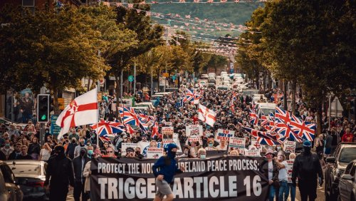 Small anti-Irish language group trying to 'hijack' anti-protocol protest in east Belfast