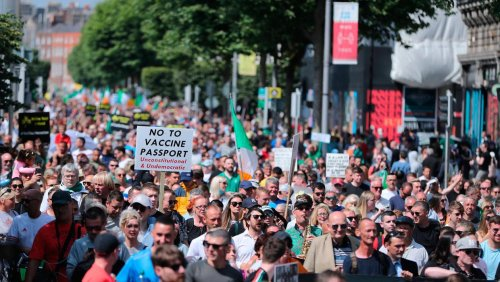 Crowds gather for anti-vaccine protests in Dublin and Belfast