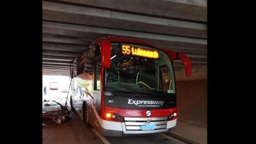 Bus Éireann driver and passengers have narrow escape after bus becomes stuck under bridge