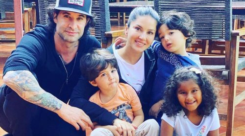 Inside Sunny Leone's Mother's Day celebration with kids Nisha, Noah and Asher in Kerala, see photos