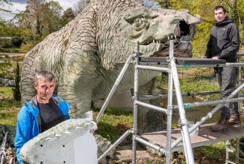Historic concrete dinosaur undergoes hi-tech face-lift after suffering jaw-dropping decay